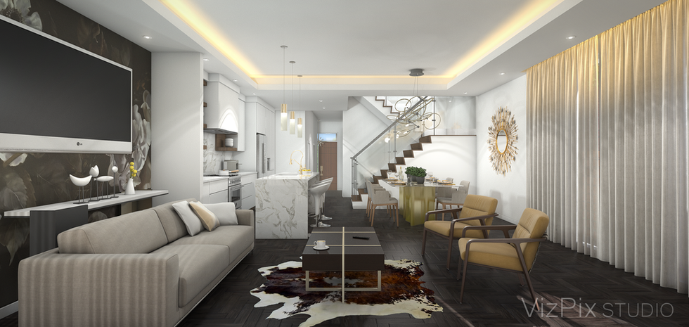 Highcroft Townhouse Living Room Rendering