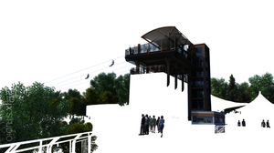 3D render layer of architectural elements, trees and people