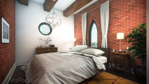 Architectural Rendering of Loft Bedroom