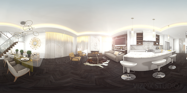 Ottawa Highcroft Town House living room 360 Panoramic render