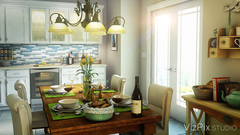 3D Rendering of a Country Dinette
