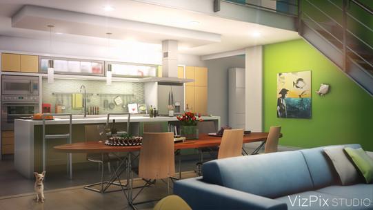 3D Open Concept Kitchen Rendering