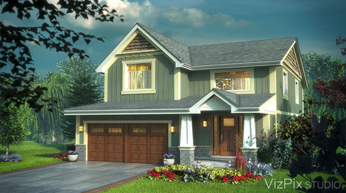 Craftsman Style House Rendering