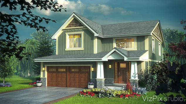 Craftsman Style House Rendering