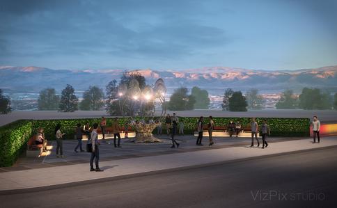 Bloom Statue Neon Line District Visualization