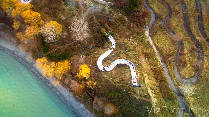 Drone Shot Abandoned Amusement Park