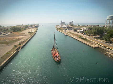 Drone Photography Viking Ship Welland Canal
