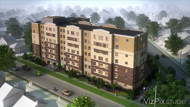 Apartment Building 3D Visualization