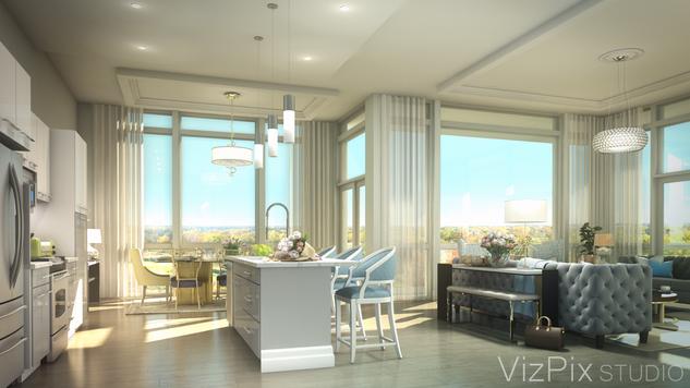 Luxury Penthouse Kitchen Visualization