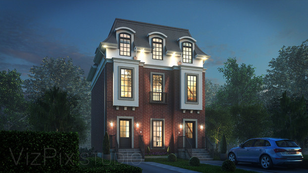 French Provincial Red Brick Duplex
