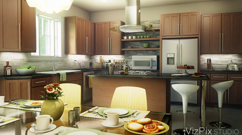 3D Modern Kitchen Visualization