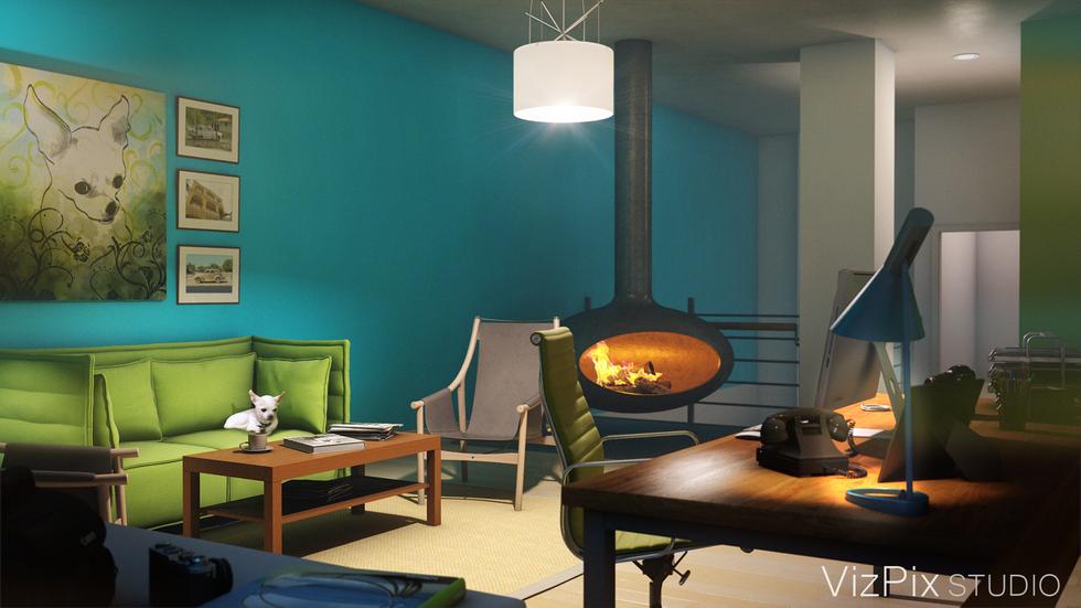 Modern Home Office Loft 3D Rendering