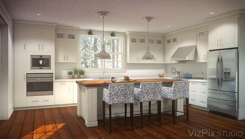 Gourmet Muskoka Cottage Kitchen Rendering
