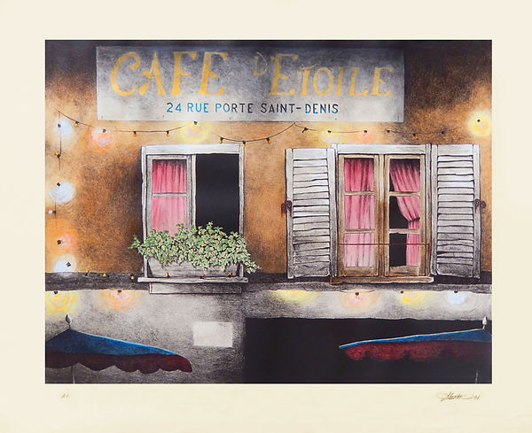 Cafe de Etoile colored with borders for