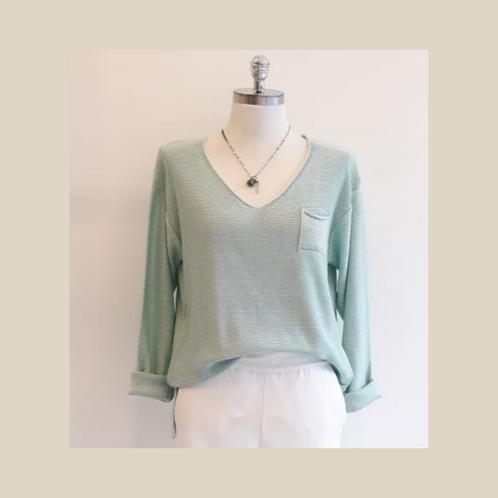 Camisa tricot Confort básica verde água