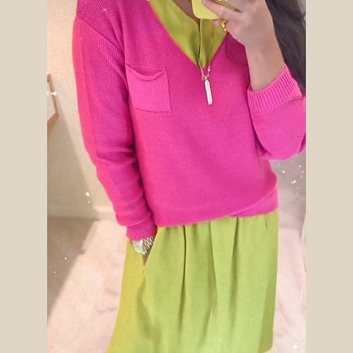Camisa tricot Rosa pink com bolso