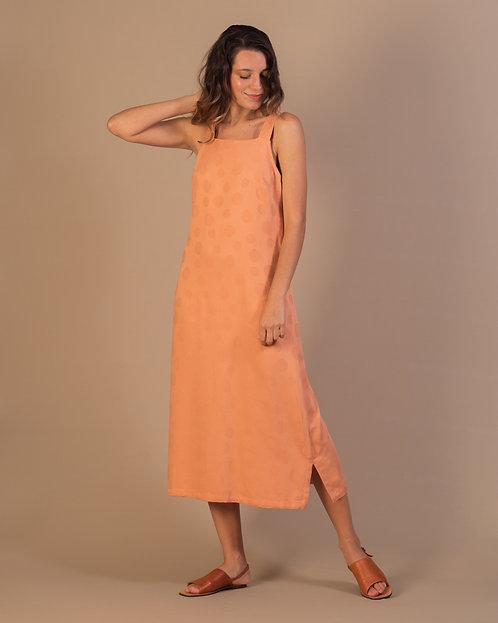 Vestido Poá Mid  coral seco