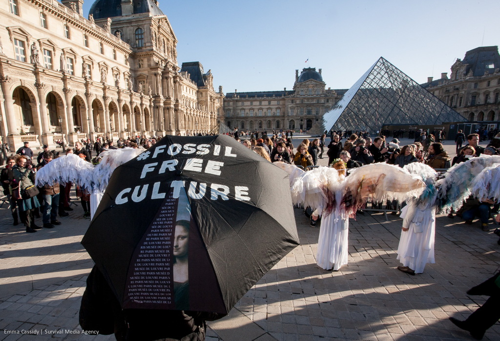 Oil Protest At Louvre