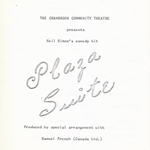 Plaza Suite 1971 program cover