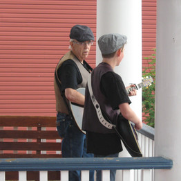 Ken & Keiran entertaining on the veranda