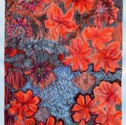 Landscape, orange flowers