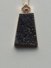 14kt Gold Black Quartz Drusy and Ruby pendant and chain           Price: $950