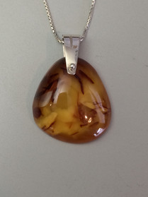 Amber pendant and chain. (Silver)                                      Price: $250