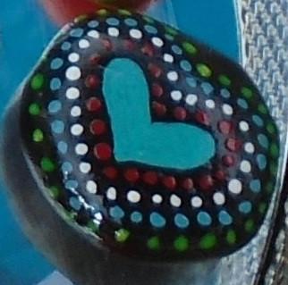 Coeur bleu en pointillé