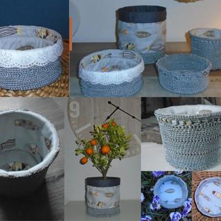 Paniers crochetés en fil gris brillant