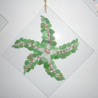 Strandglas zeesterren / schelpen / mini parels