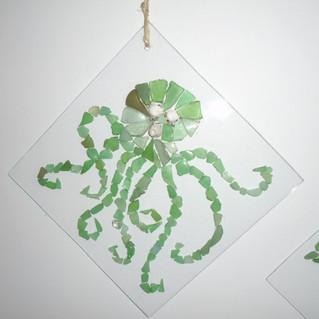 Octopus en verre de plage/coquillages/miniperles