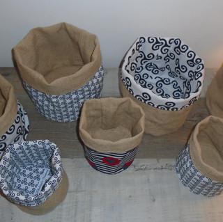 Paniers reversibles en jute et coton