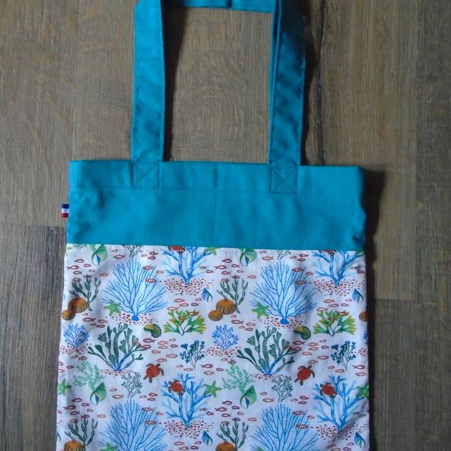 Tote bag bleu corail 32,5x35cm