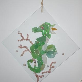 Hippocampe en verre de plage/coquillages/miniperles