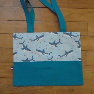 Tote bag requins/bleu 25,5x33cm