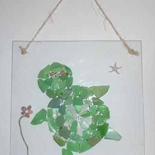 Strandglas schildpad / schelpen / mini parels