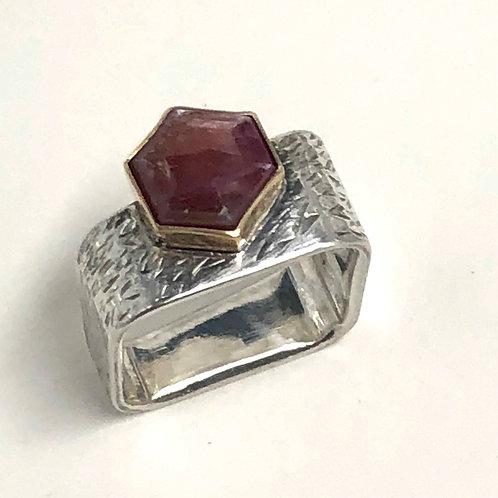 Hexagonal Rose Cut Raw Ruby Ring