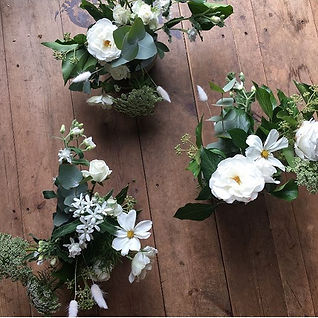 homegrown cosmos and garden roses made