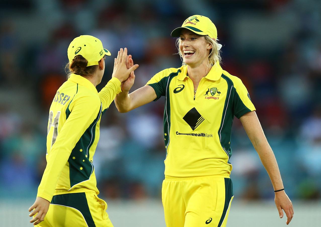 Holly High-Fiving Fellow Australian Women's Teammate