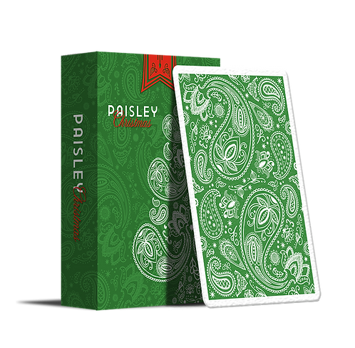 Paisley Playing Cards - Metallic Green Christmas Edition