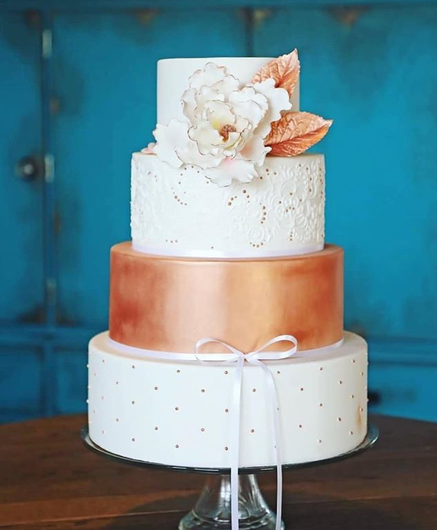 White and Rose Gold Wedding