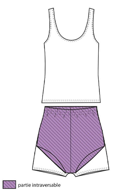 Maillot de bain tankini fille imprimé violet