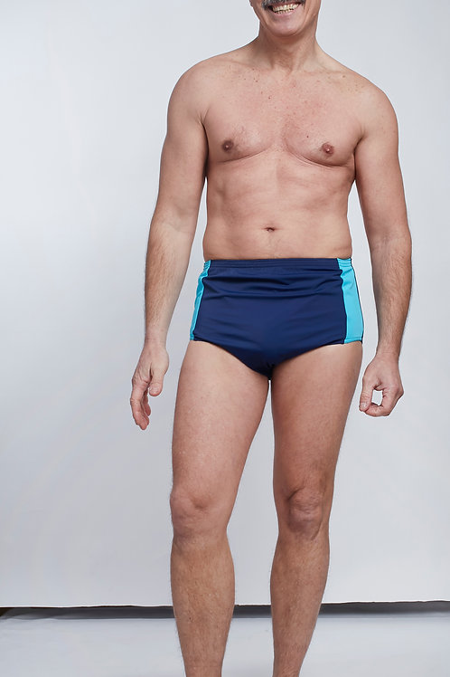 Slip de bain homme marine turquoise