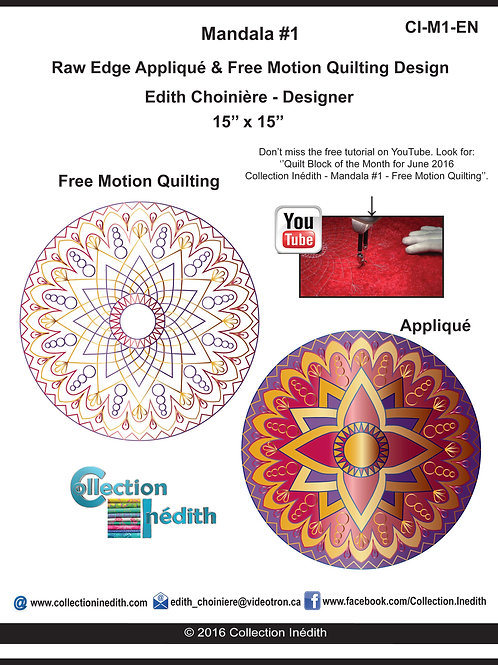 Mandala #1 - Appliqué with Free Motion Quilting Design