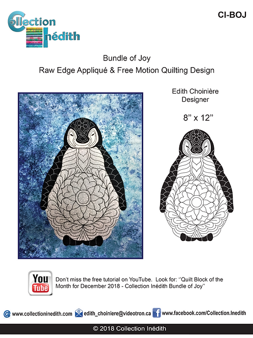 Bundle of Joy (Cute baby penguin) - Appliqué with FMQ design