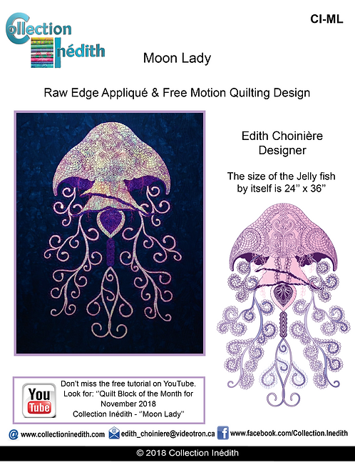 Moon Lady Jelly Fish - Appliqué with FMQ design