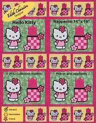 Patron de napperon avec serviette - Appliqué - Courtepointe - Patchwork - Hello Kitty - Collection Inédith