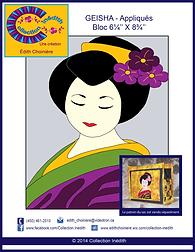 Patron d'appliqué pour la courtepointe - patchwork - Geisha - Collection Inédith