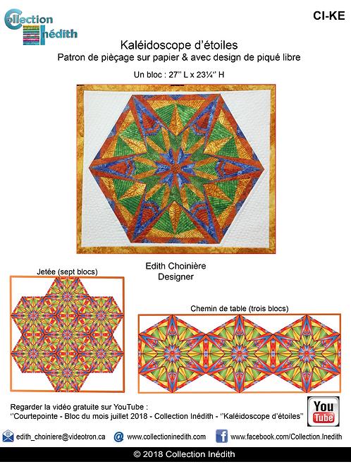 Kaléidoscope d'étoile - Pièçage sur papier avec design de piqué libre