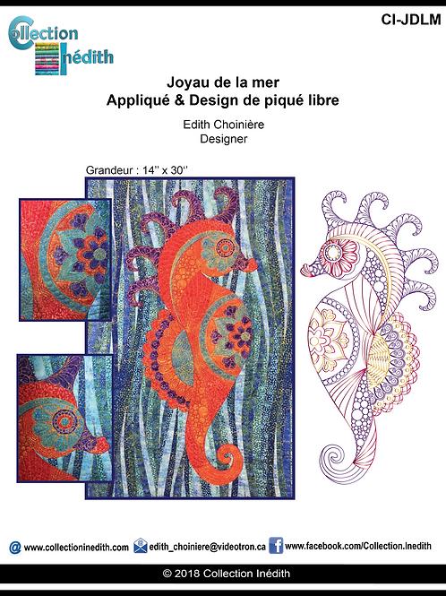 Joyau de la mer - Appiqué avec design de piqué libre